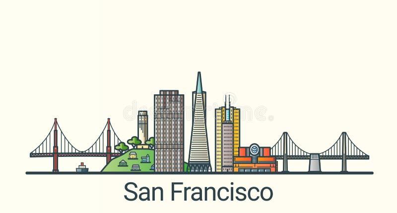 Línea plana bandera de San Francisco ilustración del vector