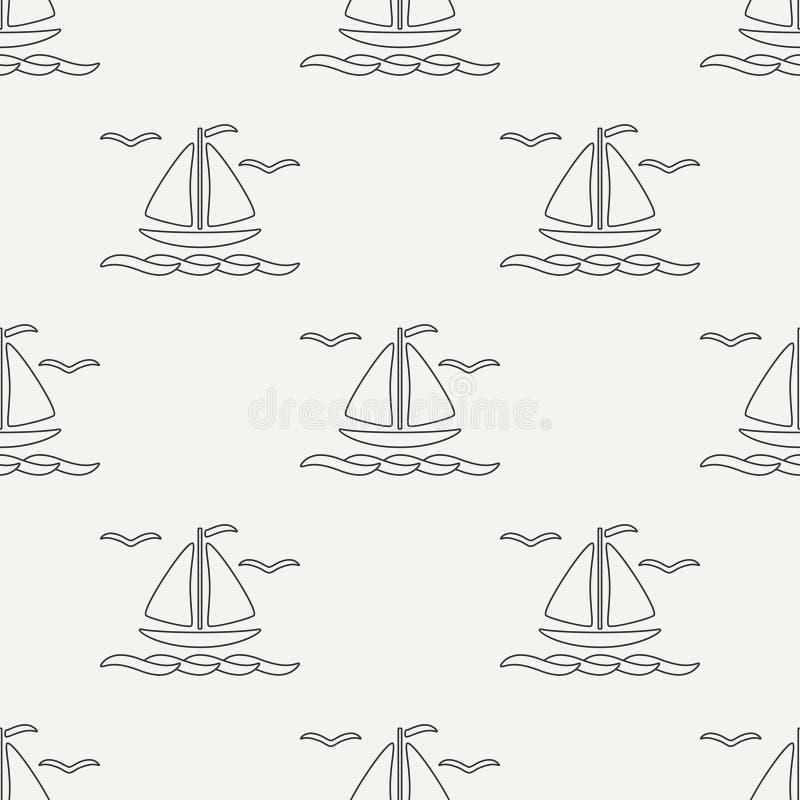 Línea plana barco inconsútil del océano del modelo del vector monocromático con la vela Retro simplificada Estilo de la historiet libre illustration