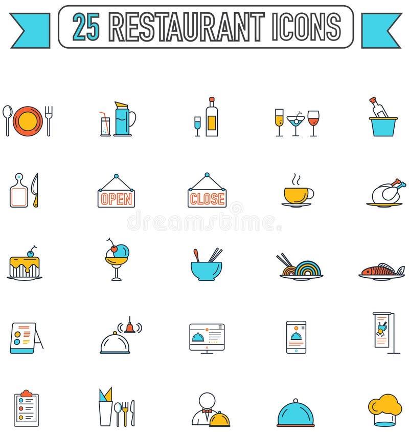 Línea plana bebida de la comida del color e icono del gráfico del restaurante libre illustration