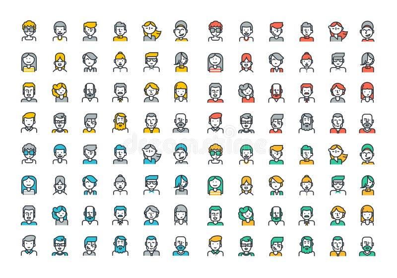 Línea plana colección colorida de los iconos de los avatares de la gente ilustración del vector