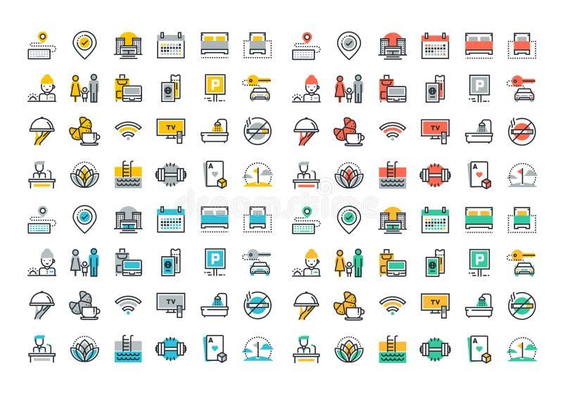Línea plana colección colorida de los iconos de los servicios de hotel ilustración del vector