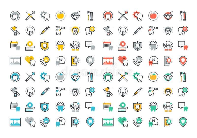 Línea plana colección colorida de los iconos de servicios dentales libre illustration