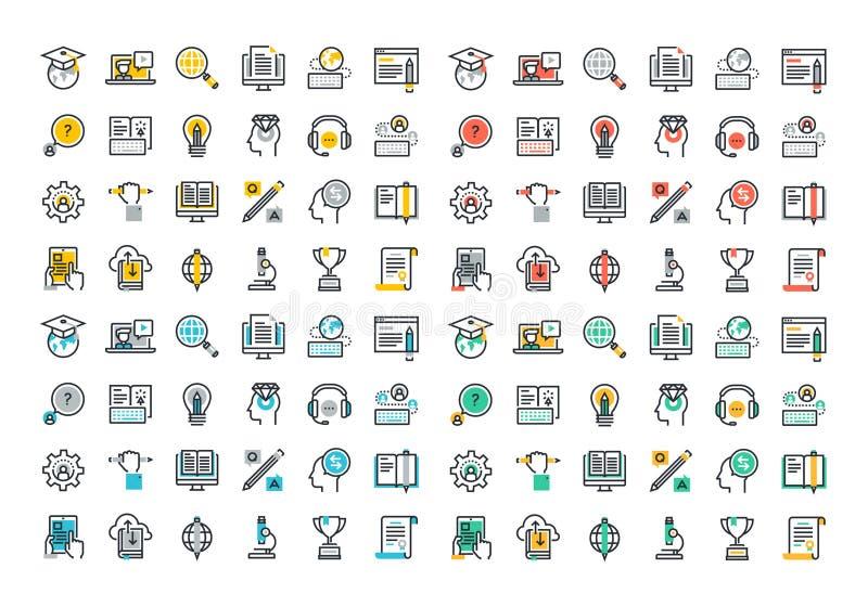 Línea plana colección colorida de los iconos del aprendizaje electrónico ilustración del vector