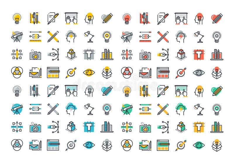 Línea plana colección colorida de los iconos del gráfico y del diseño web ilustración del vector