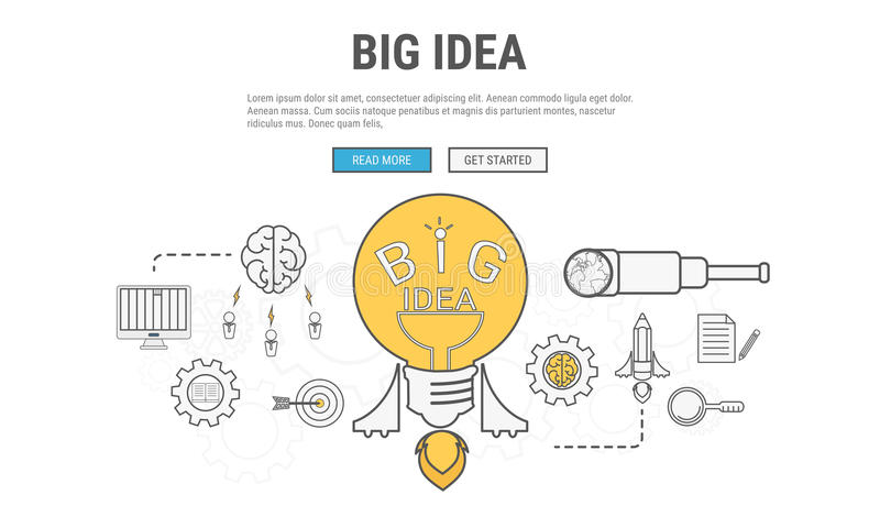 Línea plana concepto de diseño para la idea grande, usado para las banderas del web, imágenes del héroe, materiales impresos ilustración del vector