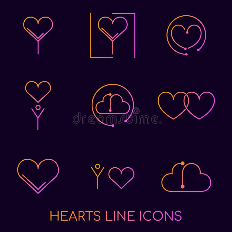 Línea plana concepto de los iconos de los logotipos de los corazones Califique el icono del corazón del logotipo en las diversas  ilustración del vector