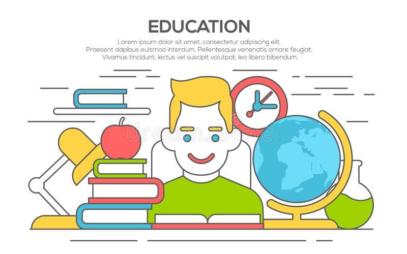 Línea plana concepto del aprendizaje y de la educación stock de ilustración