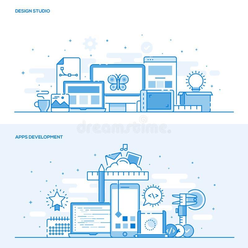 Línea plana concepto del color - diseñe el estudio y el desarrollo de Apps stock de ilustración
