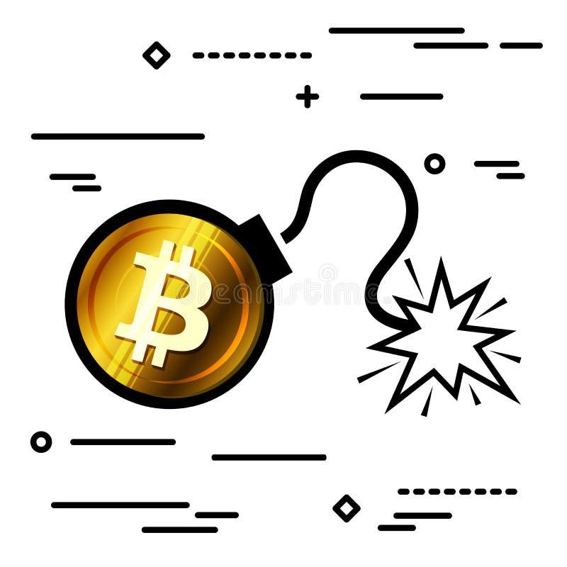 Línea plana concepto gráfico de la imagen del diseño del icono de la bomba del bitcoin en a stock de ilustración