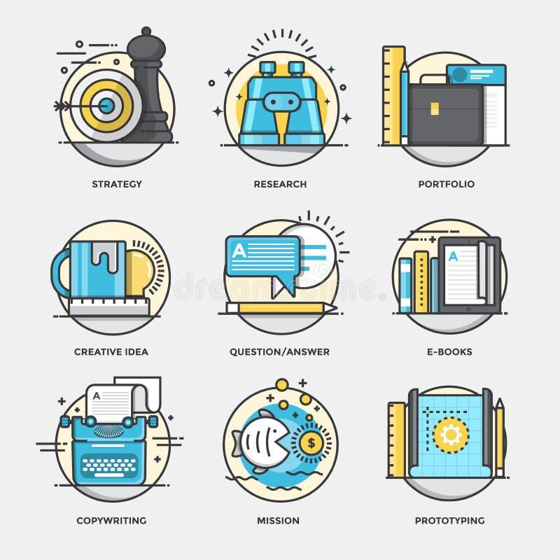Línea plana conceptos 5 stock de ilustración