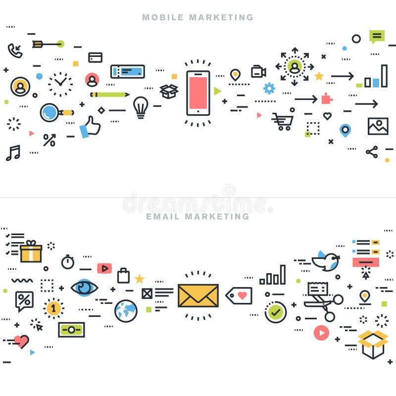Línea plana conceptos de diseño para el márketing corporativo libre illustration
