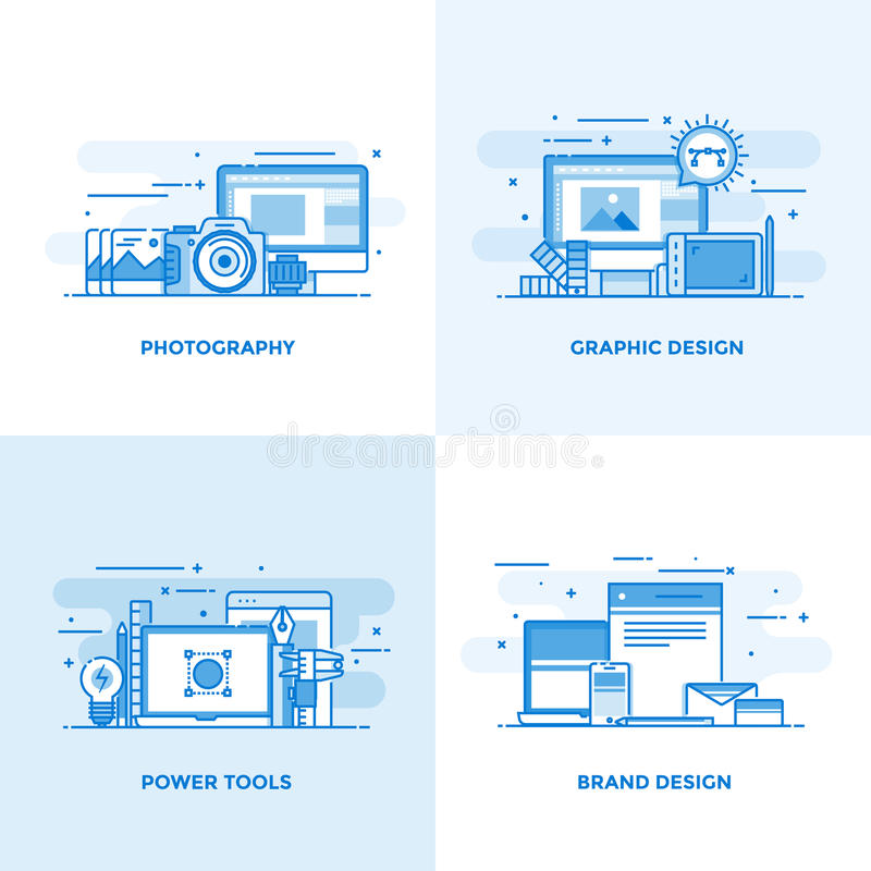 Línea plana conceptos diseño 3 libre illustration