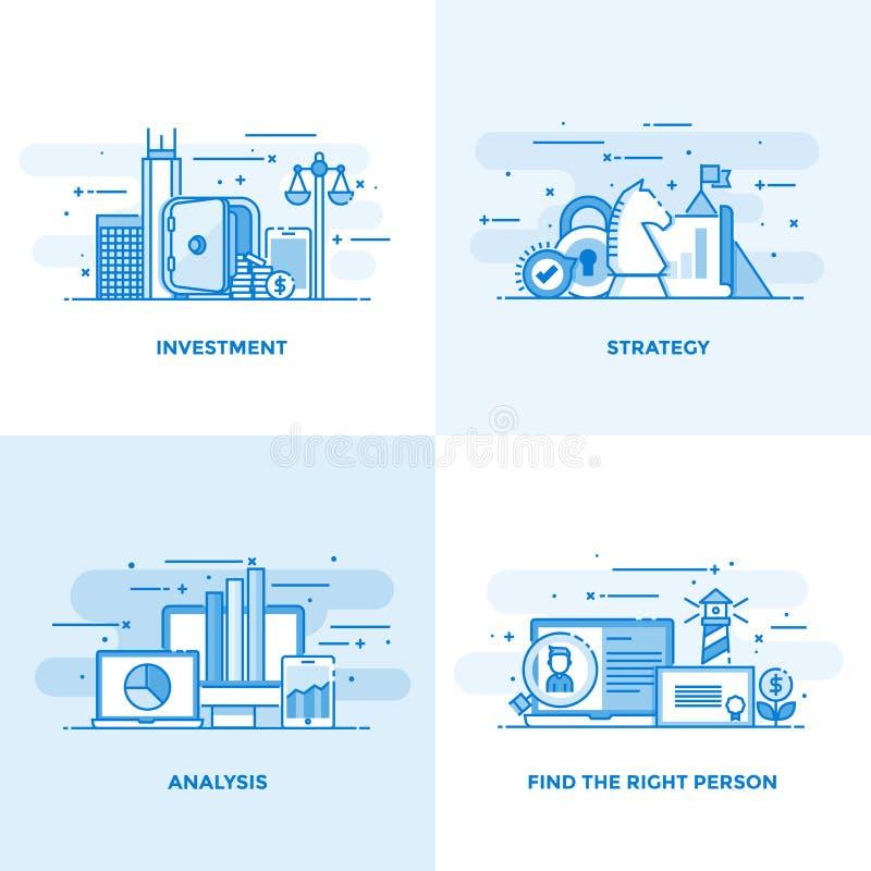 Línea plana conceptos diseño 7 ilustración del vector