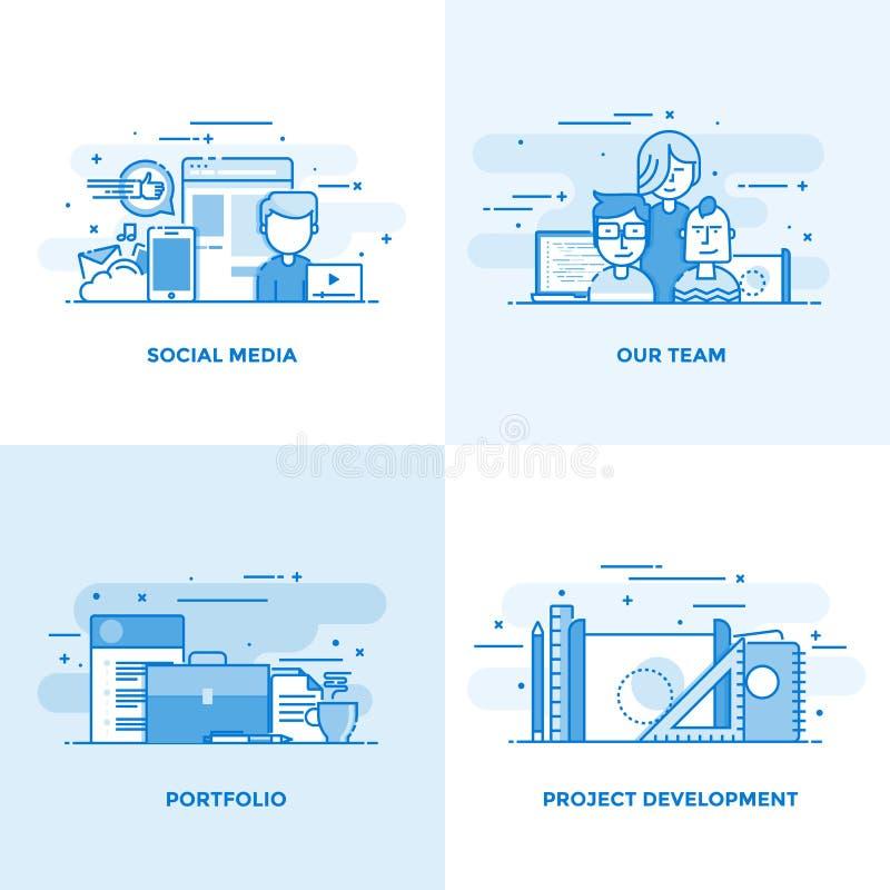 Línea plana conceptos diseño 4 libre illustration