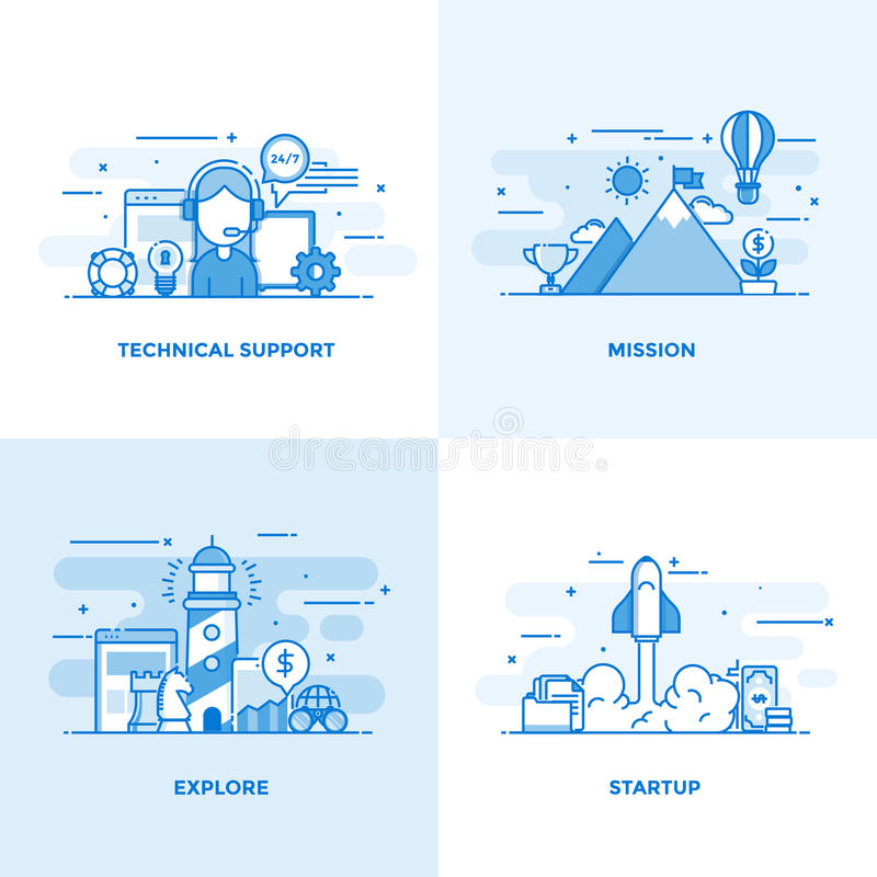 Línea plana conceptos diseño 2 libre illustration