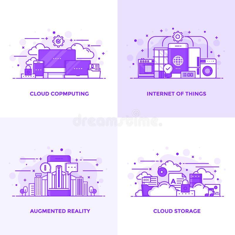 Línea plana conceptos diseño púrpuras 12 stock de ilustración