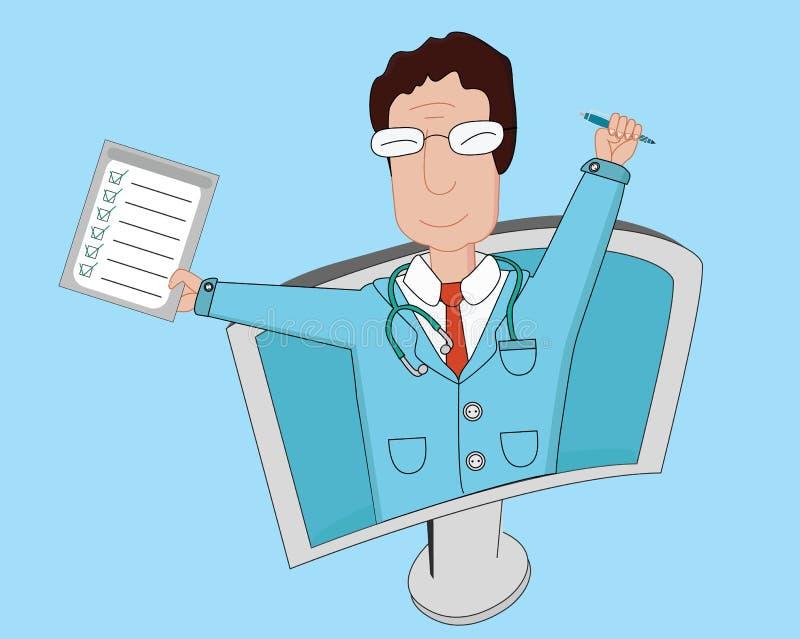 Línea plana  de la telemedicina del illustrationÑ Doctor de sexo masculino sonriente con los exámenes médicos y la pluma ilustración del vector