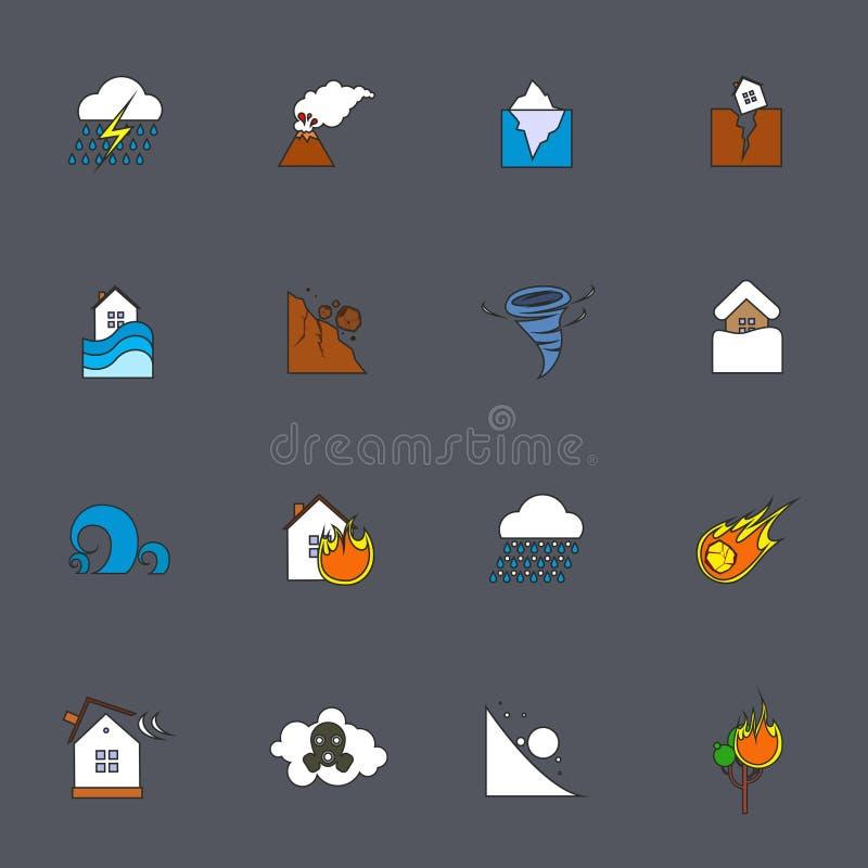 Línea plana de los iconos del desastre natural ilustración del vector