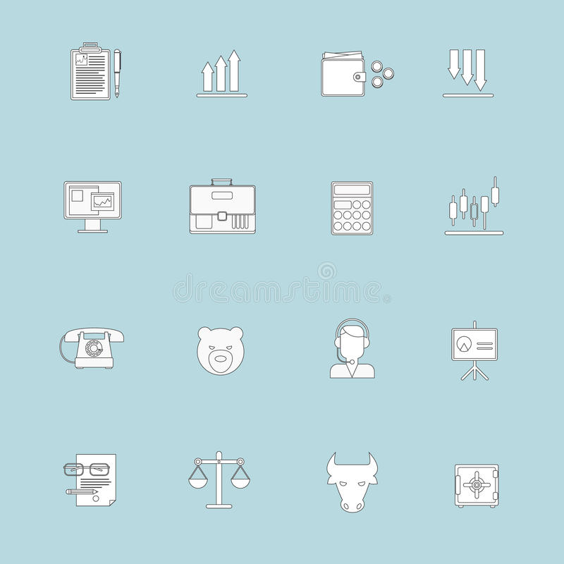 Línea plana de los iconos del intercambio de las finanzas libre illustration