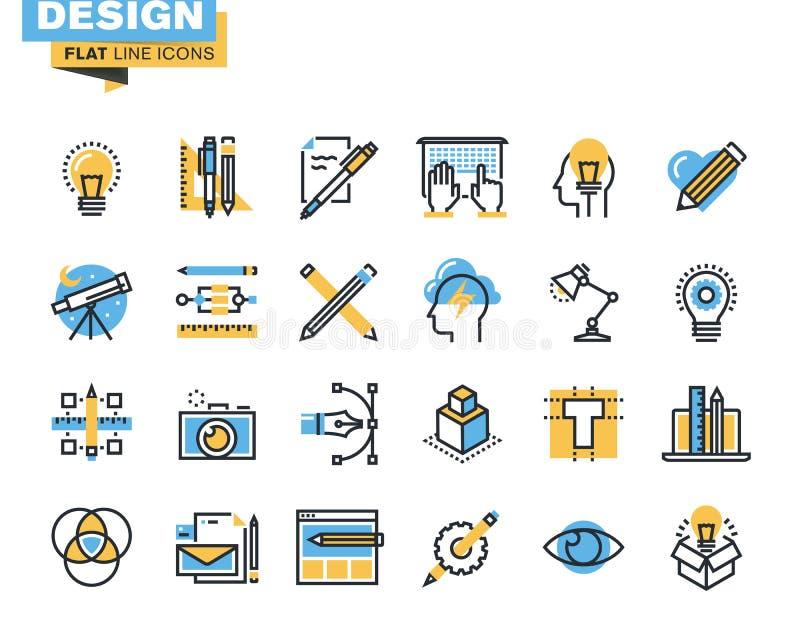 Línea plana de moda paquete del icono para los diseñadores y los promotores ilustración del vector