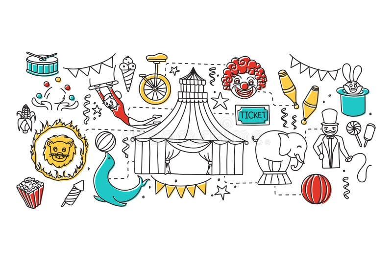 Línea plana diseño del arte del concepto del circo stock de ilustración