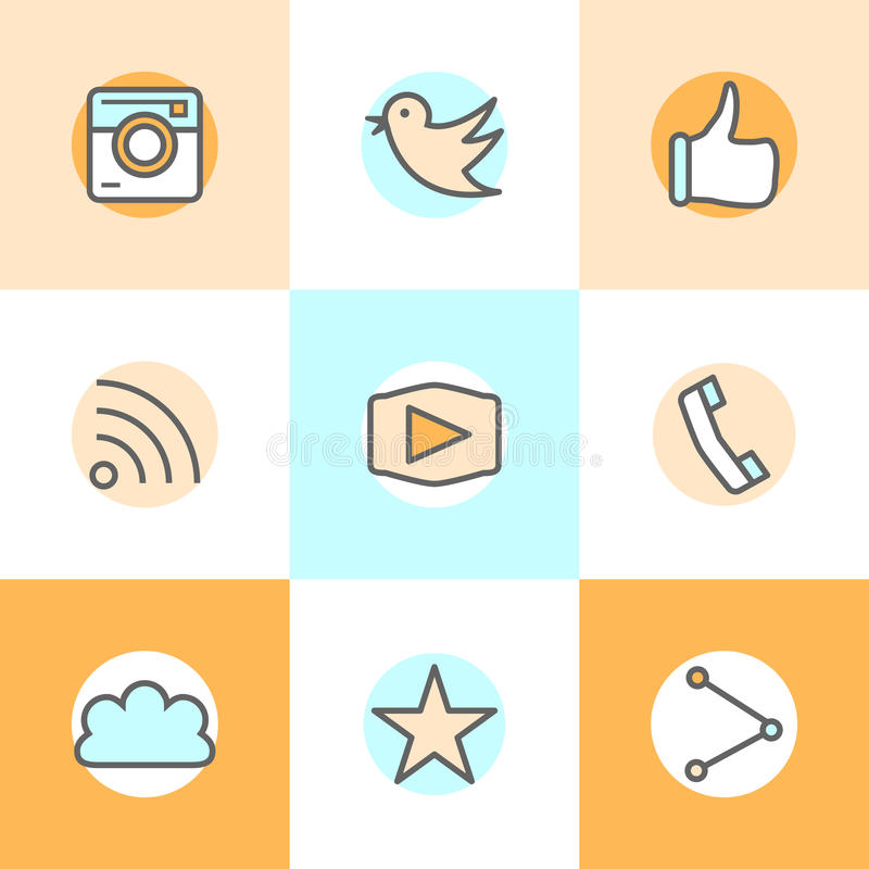 Línea plana diseños determinados de los iconos de la cámara, como, pájaro, teléfono, sitio web, parte Representa la aprobación, v libre illustration