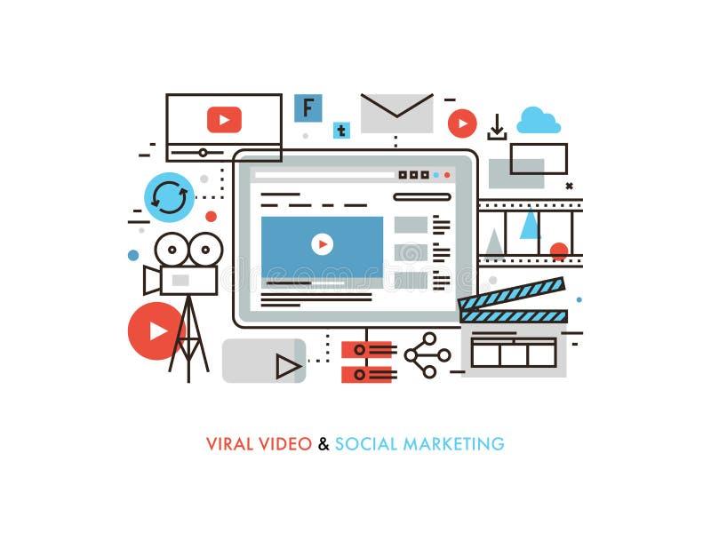 Línea plana ejemplo de la producción video viral libre illustration