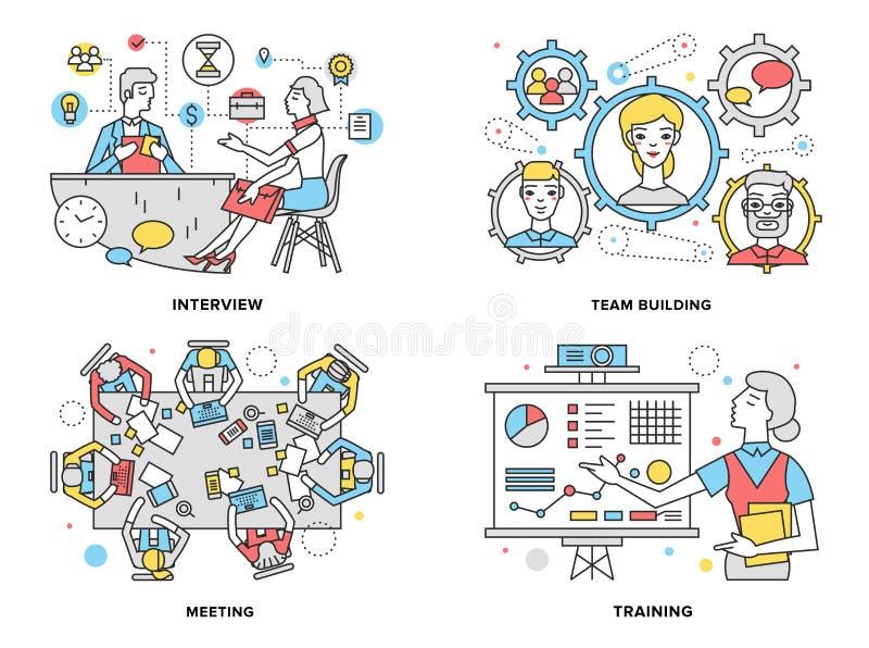 Línea plana ejemplo de los recursos humanos stock de ilustración