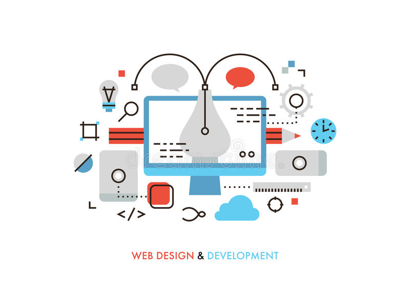 Línea plana ejemplo del diseño web stock de ilustración