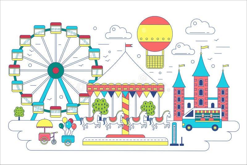 Línea plana ejemplo del parque de atracciones del vector Circo, noria, atracciones, globo del aerostato en aire libre illustration