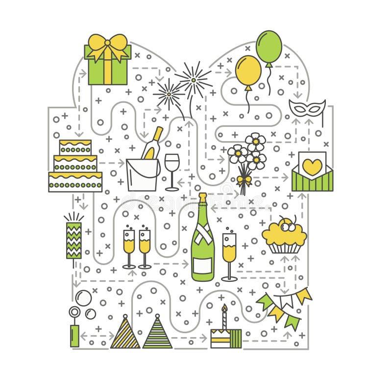 Línea plana ejemplo del vector del concepto de la celebración del arte libre illustration