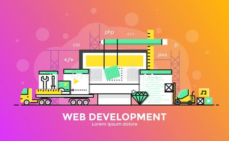 Línea plana ejemplo moderno del concepto - desarrollo web ilustración del vector