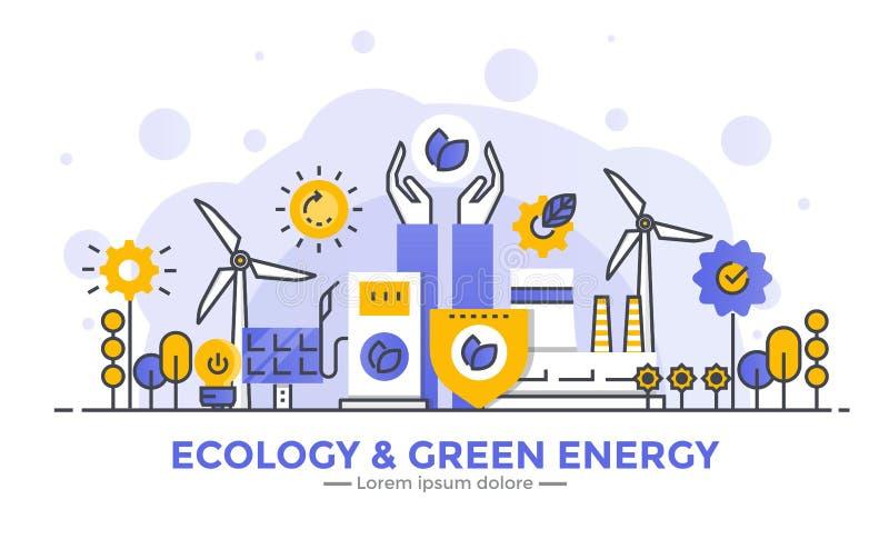 Línea plana ejemplo moderno del concepto - ecología y energía verde stock de ilustración