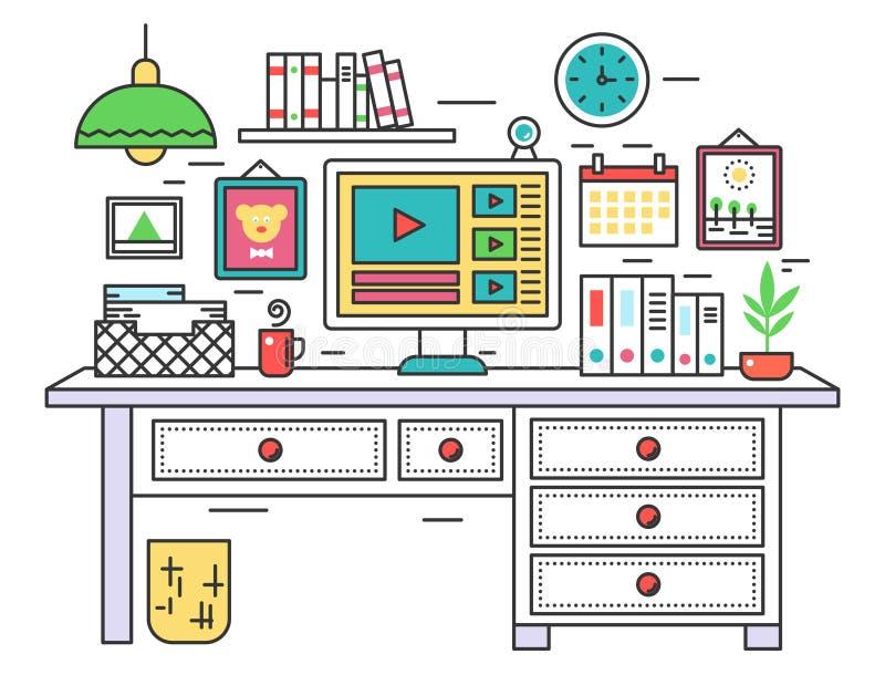 Línea plana escritorio del lugar de trabajo del diseño, interior creativo del sitio de la oficina, equipo de escritorio en lugar  libre illustration