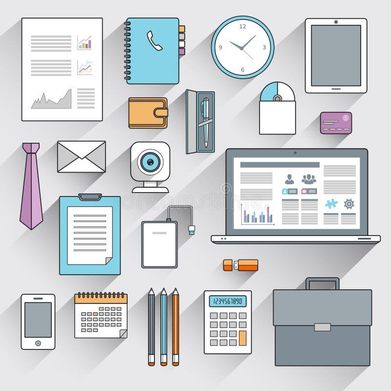 Línea plana fijada artículos del negocio stock de ilustración