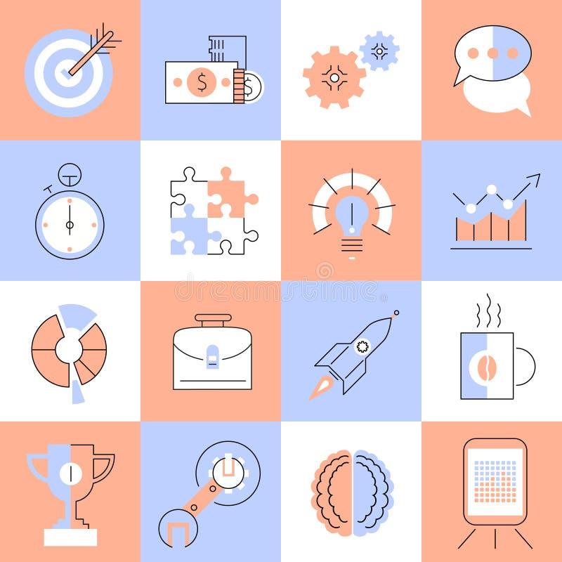 Línea plana fijada iconos creativos stock de ilustración