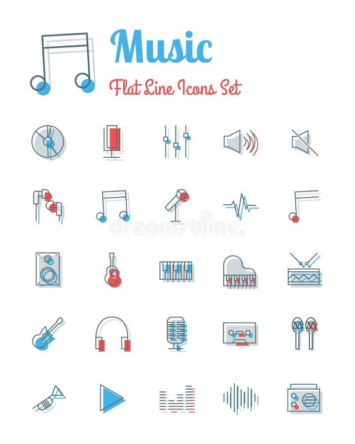 Línea plana fijada iconos estilo de la música stock de ilustración