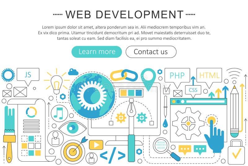 Línea plana fina elegante concepto del vector del desarrollo web Disposición de los elementos de la bandera del web del jefe del  ilustración del vector