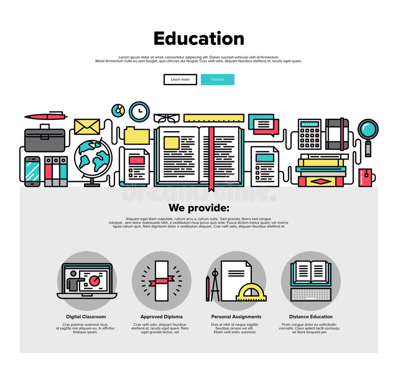 Línea plana gráficos de la educación del web libre illustration