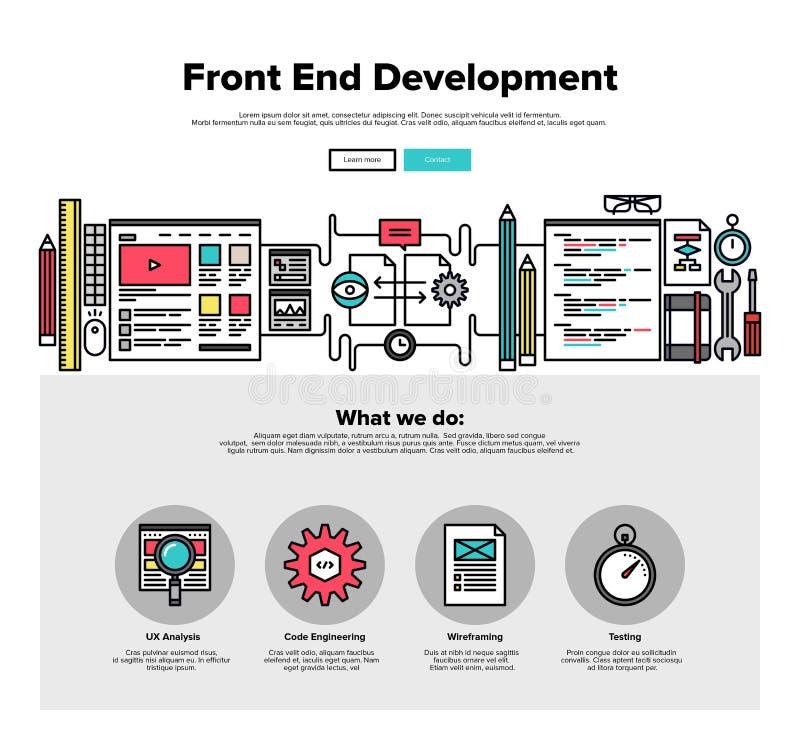 Línea plana gráficos del desarrollo de la parte frontal del web libre illustration