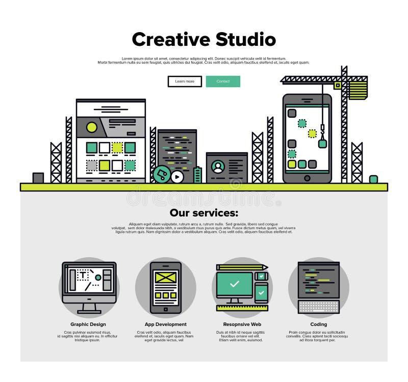 Línea plana gráficos del estudio creativo del web