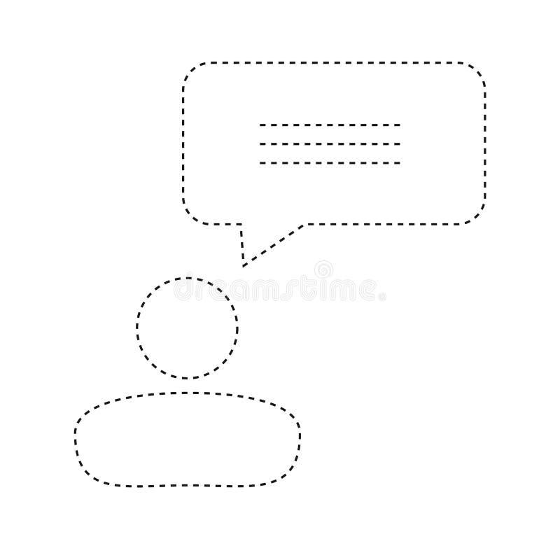 Línea plana hombres de negocios y etiqueta engomada incoloros Ov de la burbuja del discurso stock de ilustración