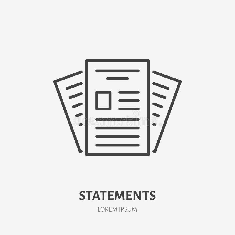 Línea plana icono de la declaración Muestra de los documentos de papel Enrarezca el logotipo linear para los servicios financiero libre illustration