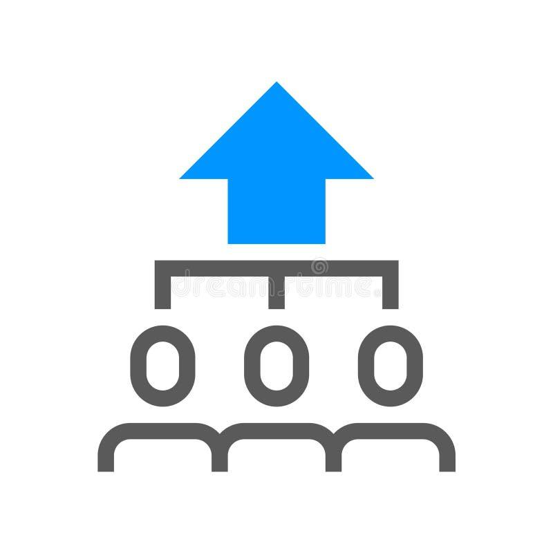 Línea plana icono de la dirección y del vector de la gestión corporativa Crecimiento de productividad Movimiento Editable pixel 4 ilustración del vector
