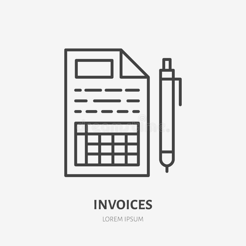 Línea plana icono de la factura Recibo, papel con la muestra de la pluma Enrarezca el logotipo linear para los servicios financie ilustración del vector