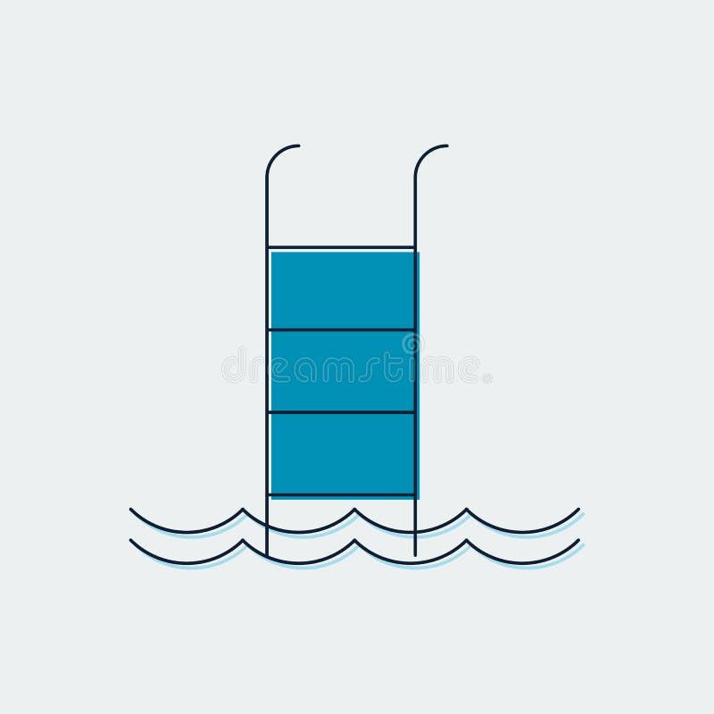 Línea plana icono de la piscina Diseño gráfico Ilustración del vector ilustración del vector