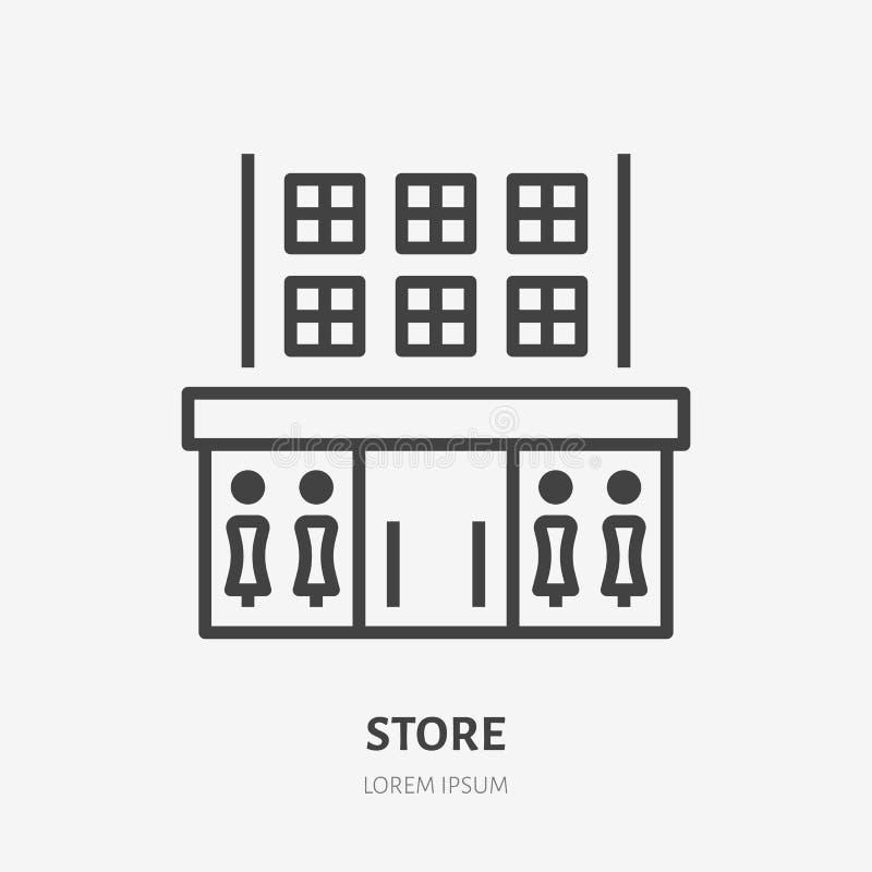 Línea plana icono de la tienda Muestra fina del vector de la tienda, logotipo constructivo comercial del alquiler Ejemplo exterio libre illustration