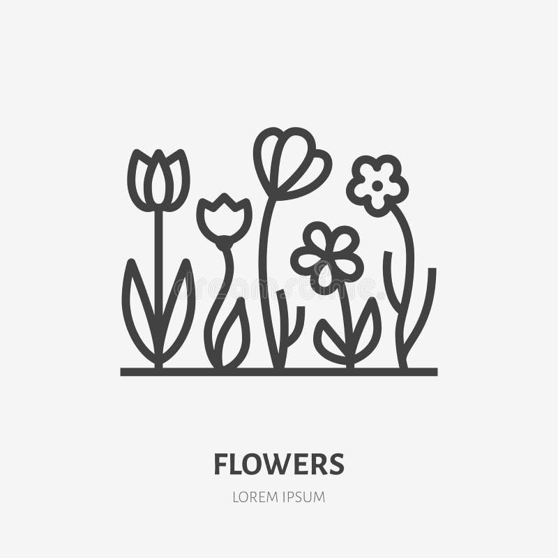 Línea plana icono de las flores de la primavera Muestra fina de cultivar un huerto, plantando, logotipo del vector de la ecología libre illustration