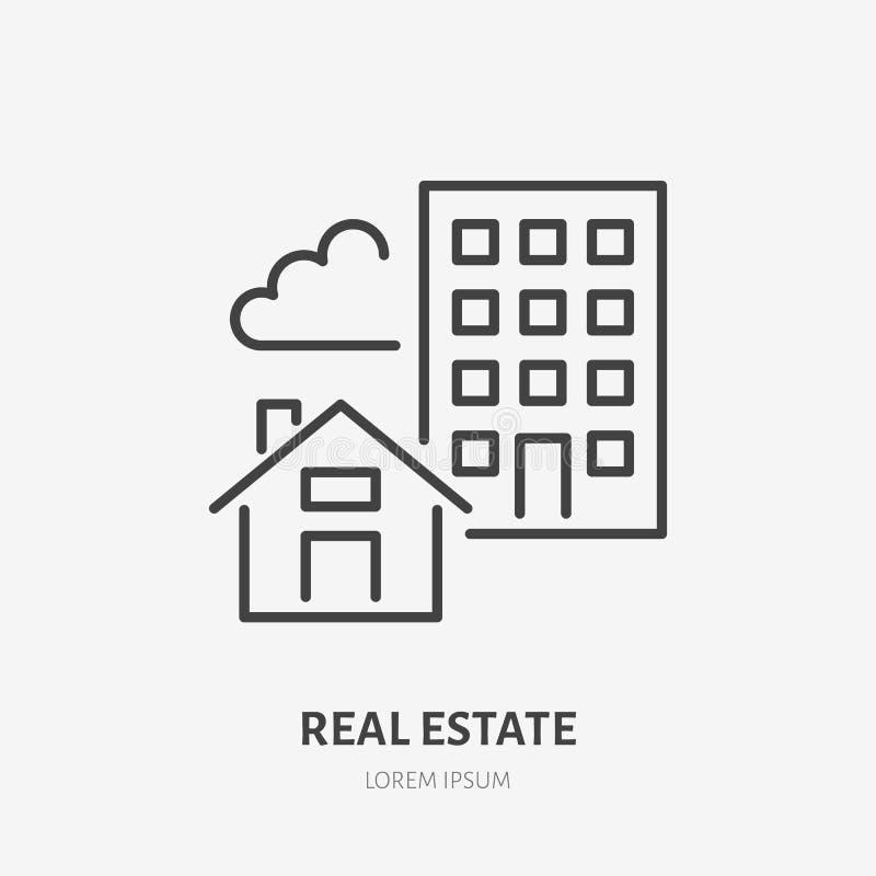 Línea plana icono de las propiedades inmobiliarias Muestra de la casa y del apartamento Enrarezca el logotipo linear para los ser ilustración del vector