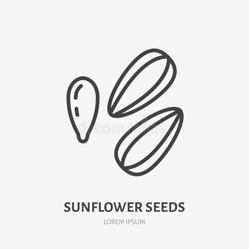 Línea plana icono de las semillas de girasol Muestra fina del vector del bocado, ejemplo sano del esquema de la comida ilustración del vector